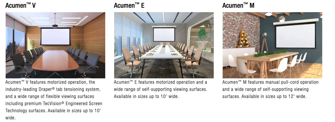 3 Acumen Smart Projection Screen Options